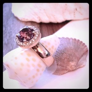 Diamond Halo & Amethyst, Rose Gold Pinky Ring.